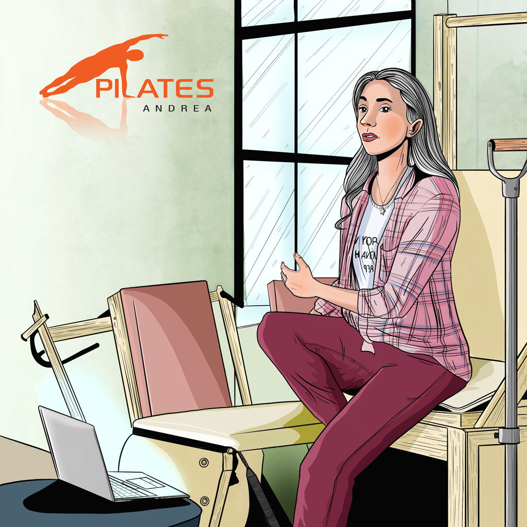 Illustration of Pilates Teacher and Laptop